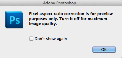Photoshop Issue Pixel aspect ratio correction is for preview only1